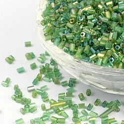 11/0 Two Cut Glass Seed Beads, Hexagon, Trans.Colours Rainbow, Green, Size: about 2.2mm in diameter, about 37500pcs/Pound(CSDB167)
