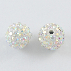 Pave Disco Ball Beads, Polymer Clay Rhinestone Beads, Round, Crystal AB, 10mm, Hole: 2mm(X-RB-S605-14)
