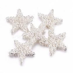 Perles en fil de fer, le thème de Noël, étoiles, argenterie, 25~28x5mm(X-IFIN-G038-S)