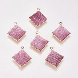 Pendentifs en laiton, de velours, losange, véritable plaqué or, rose, 17x15x3mm, Trou: 1mm(KK-P138-12)