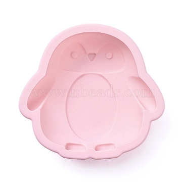 Penguin Food Grade Silicone Molds, Cake Pan Molds, For DIY Chiffon Cake Bakeware, Pink, 114x122x32mm(DIY-F044-06)