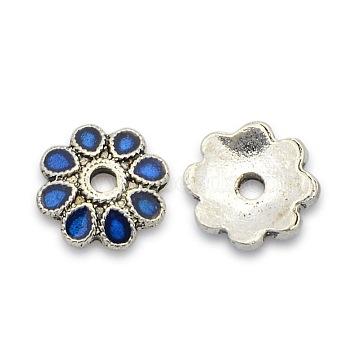 Antique Silver Blue Alloy + Enamel Bead Caps