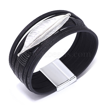Genuine Cowhide Leather Cord Multi-strand Bracelets, with Alloy Findings and Wax Polyester Cords, Leaf, Silver Color Plated, Black, 18.5cm(BJEW-F352-15S-01)