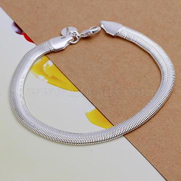 Unisex Brass Snake Chain Bracelets, with Lobster Clasps, Silver Color Plated, 205x6mm(BJEW-BB12533)