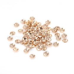 6-Petal Iron Bead Caps, Flower, Light Gold, 3.5x0.1mm, Hole: 1mm, about 500pcs/5g(X-IFIN-F152-02LG)