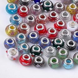main au chalumeau perles européennes, grandes perles de trou, en laiton de tonalité de platine noyaux doubles, rondelle, couleur mélangée, 13.5~15x10~11 mm, trou: 5 mm(X-LPDL-T001-02)