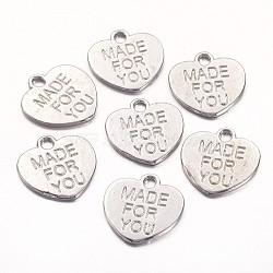 тибетском стиле сплав очаровывает, сердце со словом для вас, свинца и кадмия, платина, 16x15x1 mm, отверстия: 2 mm(X-TIBEP-A9694-P-RS)