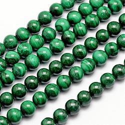 """Chapelets de perles en malachite naturelle, rond, 8mm, trou: 1mm; environ 47 pcs/chapelet, 15.5""""(G-O152-47-8mm)"""