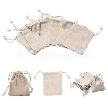 Cotton Packing Pouches Drawstring Bags, Wheat, 9x8cm(X-ABAG-R011-8x10)