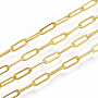 Soldered Brass Cable Chains, Paperclip Chains, Long-Lasting Plated, with Spool, Golden, 6x2.6x0.4mm