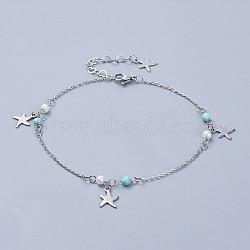 304 bracelets de cheville en acier inoxydable, avec perles de turquoise synthétiques et perle de verre, étoiles de mer, couleur inox, 9-5 / 8 (24.5 cm)(AJEW-AN00265-01)