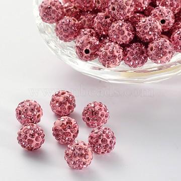 Perles de boule pavé disco , Perles de strass en argile polymère, rond, rose clair, 10mm, Trou: 2mm(X-RB-A180-10mm-2)