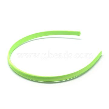 Plain Plastic Hair Band Findings, No Teeth, Covered with Cloth, Lawn Green, 120mm; 9.5mm(OHAR-Q275-04E)