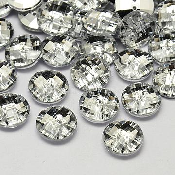 18L(11.5mm) White Disc Acrylic Rhinestone 2-Hole Button