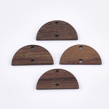 Walnut Wood Links connectors, Half Round/Semicircle, Saddle Brown, 14x28x2.5~3mm, Hole: 2mm(X-WOOD-S054-41)