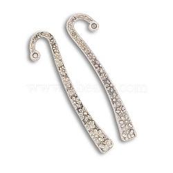 Signets en alliage de métal de style tibétain, argent antique, 63x7x2mm, Trou: 1.5mm(PALLOY-J154-46AS)