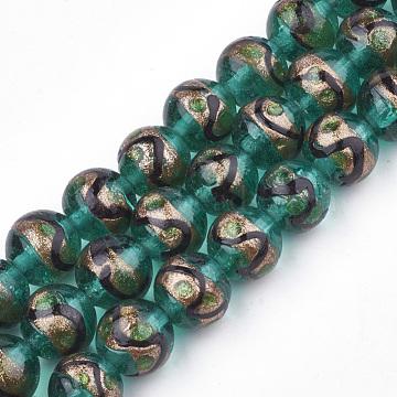 Handmade Gold Sand Lampwork Beads, Round, Dark Cyan, 12~12.5x11~12mm, Hole: 1.5~2mm(X-LAMP-T006-02E)
