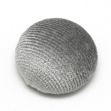 Velvet Covered Beads, with Aluminum Bottom, Half Round/Dome, Half Drilled, Gray, 21x11mm, Hole: 3mm(X-WOVE-S084-34G)