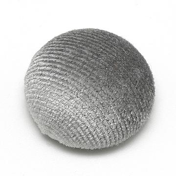 21mm Gray Half Round Velvet Beads
