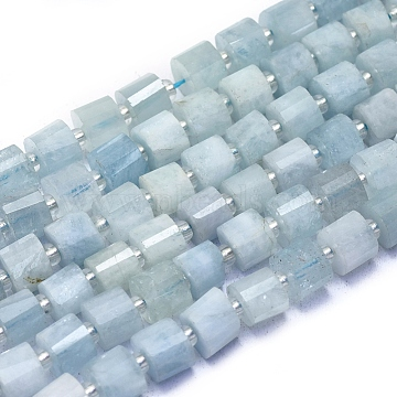 Natural Aquamarine Beads Strands, Faceted, Column, 6.5x5.5mm, Hole: 1mm; about 52~56pcs/strand, 15.55''(39.5cm)(G-L552N-06)