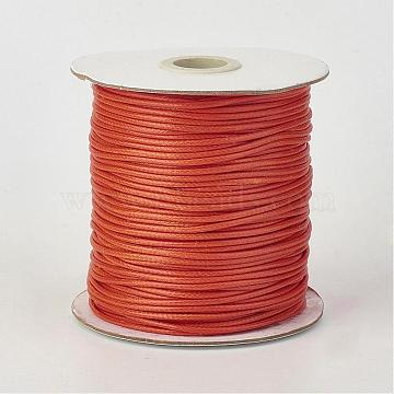 Eco-Friendly Korean Waxed Polyester Cord, Coral, 1.5mm; about 200yards/roll(600 feet/roll)(182.88m/roll)(YC-P002-1.5mm-1160)