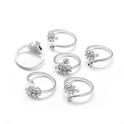 Brass Finger Ring Components, with Cubic Zirconia, For Half Drilled Beads, Adjustable, Clear, Platinum, 17.5mm(KK-L184-48P)