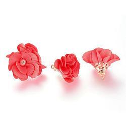 Украшения из ткани ручной работы, со сплавочной фурнитурой, цветок, помидор, 24~26x24~25 мм, отверстие : 2 мм(FIND-063-01F)