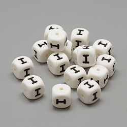 Food Grade Eco-Friendly Silicone Beads, Chewing Beads For Teethers, DIY Nursing Necklaces Making, Letter Style, Cube, White, 12x12x12mm, Hole: 2mm(X-SIL-R001-I)