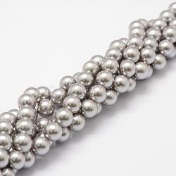 """Chapelets de perles de coquille, Grade a, rond, grises , 8mm, trou: 1mm; environ 51 pcs/chapelet, 16""""(BSHE-L026-05-8mm)"""