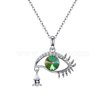 925 Sterling Silver Pendant Necklaces, with Austrian Crystal, Eye, Platinum, 254-Lt.Emerald, 15.74 inches(40cm)(SWARJ-BB34024-B)