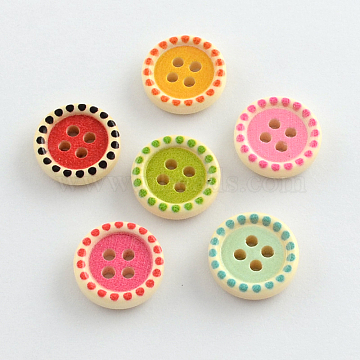 4-Hole Printed Wooden Buttons, Flat Round, Mixed Color, 15x4mm, Hole: 2mm(BUTT-R032-068)