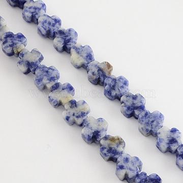 Natural Blue Spot Jasper Beads Strands, Greek Cross, RoyalBlue, 8x8x4mm, Hole: 1mm; about 50pcs/strand, 16.9inches(G-R182-10)