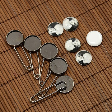 16x6mm Flat Round Portrait Tempered Glass Cabochons and Gunmetal Iron Brooch Settings, Brooch Findings: 44x18x5mm, Tray: 16mm, Pin: 1mm(DIY-X0085)