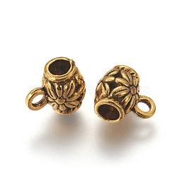 Liens de suspension en alliage de style tibétain, Perles renflouer , sans plomb et sans cadmium, canon avec des fleurs, Or antique, taille: environ perles: 9 mm de long,  largeur de 7.5 mm, 3.5 mm de diamètre intérieur , Trou: 2mm(X-GAB647Y)