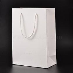 Sacs en papier carton rectangle, sacs-cadeaux, sacs à provisions, avec poignées en corde de nylon, blanc, 12x5.7x16 cm(AJEW-E034-10)