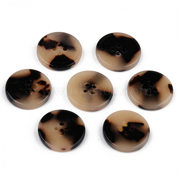 4-Hole Cellulose Acetate(Resin) Buttons, Tortoiseshell Pattern, Flat Round, Wheat, 20x2.5mm, Hole: 1.8mm(BUTT-S026-001C-04)