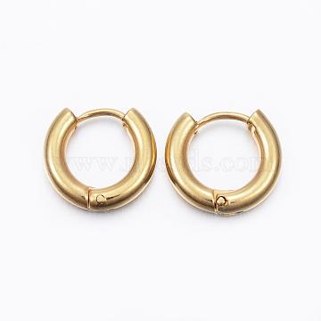 304 Stainless Steel Hoop Earrings, Golden, 13x14mm, Pin: 1mm(X-EJEW-F111-14mm-G)