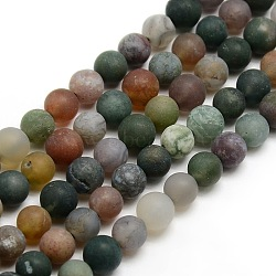 Frosted Natural Indian Agate Round Bead Strands, 8mm, Hole: 1mm; about 47~49pcs/strand, 14.9inches~15.6inches