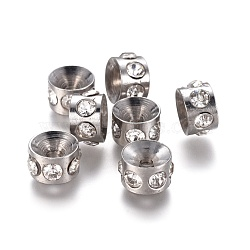 Perles de strass en 304 acier inoxydable, colonne, 8x5mm, Trou: 1.8mm(STAS-E474-54C-P)