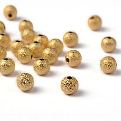 Perles rondes texturées en laiton doré de 6 mm, Trou: 1mm(X-EC248-G)