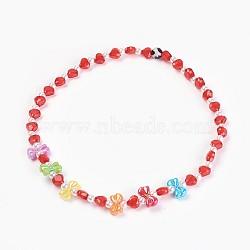 """Acryliques perles de colliers d'enfants, avec des perles en agate, bowknot & coeur & rond, rouge, 19.29"""" (49 cm)(NJEW-JN02235-04)"""