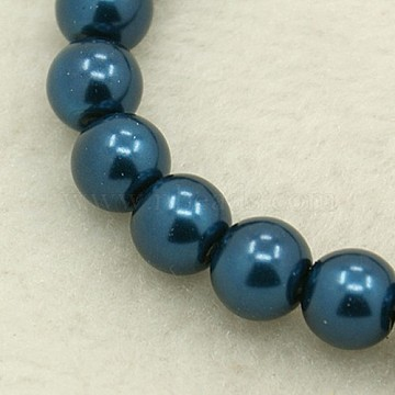 8mm SteelBlue Round Glass Pearl Beads