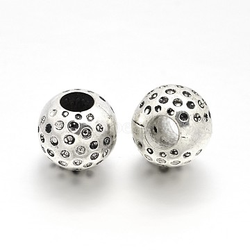 CCB Plastic Beads, Large Hole Round Beads, Antique Silver, 14x12mm, Hole: 6mm(CCB-J032-30AS)