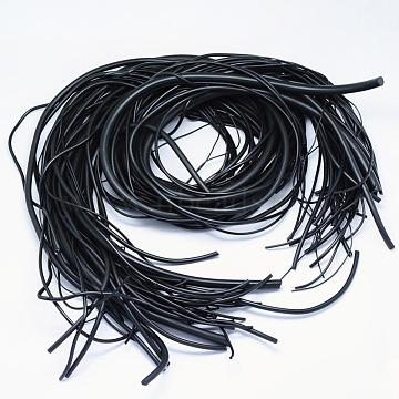 Mixed Style Synthetic Rubber Cord, Hollow & No Hole/Solid, Black, 39.37 inches(1m); 1~8mm; Hole: 1mm, about 1.09 yards(1m)/strand; about 520g/bag; 50strands/bag(RCOR-H002-01)