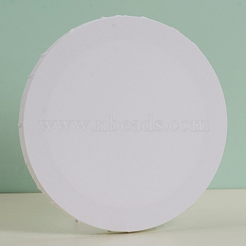 Blank Cotton Wood Primed Framed, Stretched Cotton Board, for Painting Drawing, Flat Round, White, 20x1.7cm(DIY-G019-08C)