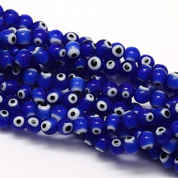 Handmade Evil Eye Lampwork Round Bead Strands, Blue, 8mm, Hole: 1mm; about 49pcs/strand, 14.17 inches(LAMP-L055-8mm-06)