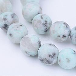jaspe de sésame naturel / perles de jaspe kiwi, arrondir, givré, 8~8.5 mm, trou: 1 mm; environ 47 perle / brin, 15.5(G-Q462-8mm-17)