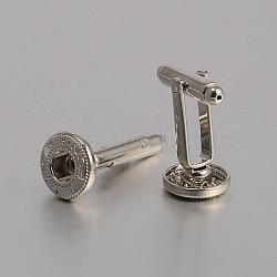 Création de bouton-pression en laiton, bouton de manchette, boutons de manchette accessoires supports cabochons pour les accessoires de vêtements, platine, 28x12 mm; s'adapter pour 5 mm boutons bouton-pression(KK-J184-36P)