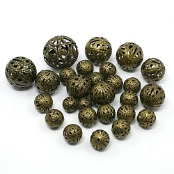 Mixed Iron Filigree Hollow Round Beads, Filigree Ball, Nickel Free, Antique Bronze, 6~16mm, Hole: 1mm; about 170pcs/100g(IFIN-X0008-AB-NF)