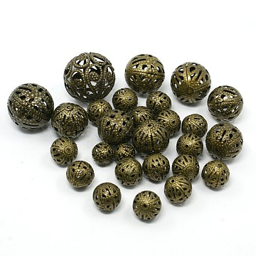 Mixed Iron Filigree Hollow Round Beads, Filigree Ball, Nickel Free, Antique Bronze, 6~16mm, Hole: 1mm, about 170pcs/100g(IFIN-X0008-AB-NF)